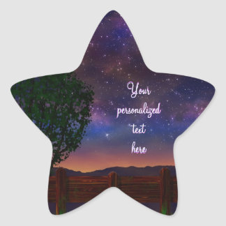 Paisaje de la noche estrellada - con el texto pegatina en forma de estrella