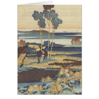 Paisaje de la pintura del arte de Hokusai Tarjeta De Felicitación