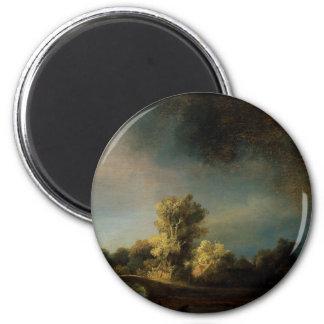 Paisaje de la pintura del arte de Rembrandt Imán
