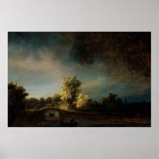 Paisaje de la pintura del arte de Rembrandt Poster