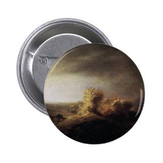 Paisaje de la pintura del arte de Rembrandt Pin Redondo De 2 Pulgadas