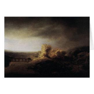 Paisaje de la pintura del arte de Rembrandt Tarjeton