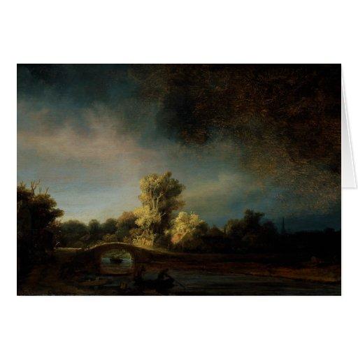 Paisaje de la pintura del arte de Rembrandt Tarjeta De Felicitación