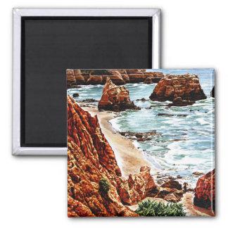 Paisaje de la playa de la roca imán cuadrado