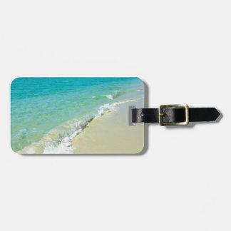 Paisaje de la playa etiqueta para maleta