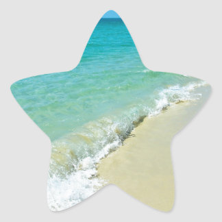 Paisaje de la playa pegatina en forma de estrella