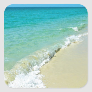 Paisaje de la playa pegatina cuadrada