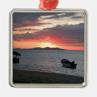 Paisaje de la puesta del sol del océano adorno para reyes