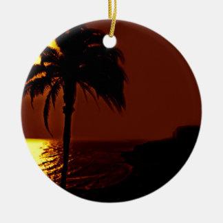 Paisaje de la puesta del sol del verano adorno de navidad