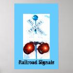 Paisaje de la señal de travesía de ferrocarril posters