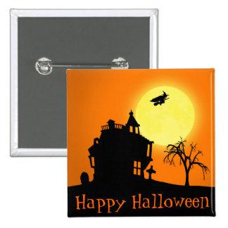 Paisaje de la silueta de Halloween - botón Pins