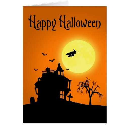 Paisaje de la silueta de Halloween - tarjeta de
