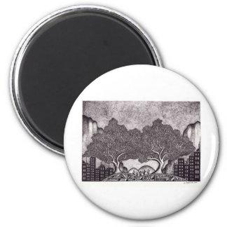 Paisaje de la tinta de Japón Imanes De Nevera