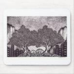 Paisaje de la tinta de Japón Tapetes De Ratón