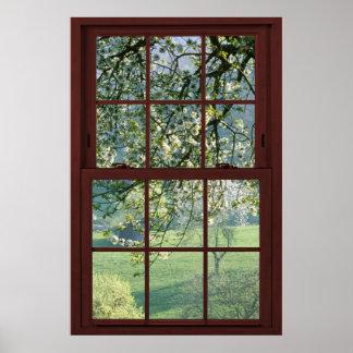 Paisaje de la ventana de imagen - flores de cereza póster