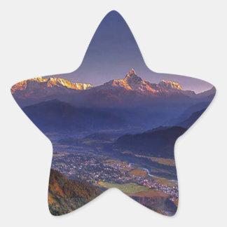 Paisaje de la visión: HIMALAYA POKHARA NEPAL Pegatina En Forma De Estrella