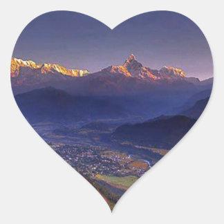 Paisaje de la visión: HIMALAYA POKHARA NEPAL Pegatina En Forma De Corazón
