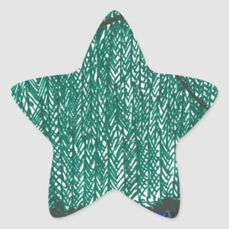 Paisaje de las montañas pegatina en forma de estrella