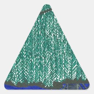 Paisaje de las montañas pegatina triangular