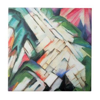 Paisaje de las montañas por cubismo del vintage de azulejos