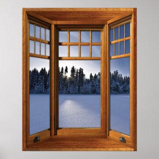 Paisaje de madera del invierno de la ventana póster