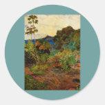 Paisaje de Martinica de Paul Gauguin (1887) Pegatina Redonda
