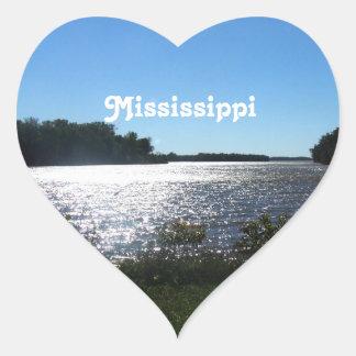 Paisaje de Mississippi Pegatina En Forma De Corazón