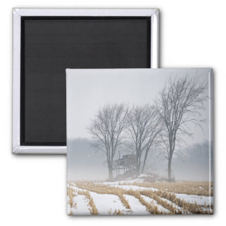 Paisaje de niebla del invierno imán cuadrado
