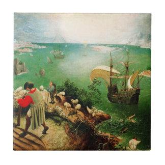 Paisaje de Pieter Bruegel con la caída de Ícaro Azulejo Cuadrado Pequeño