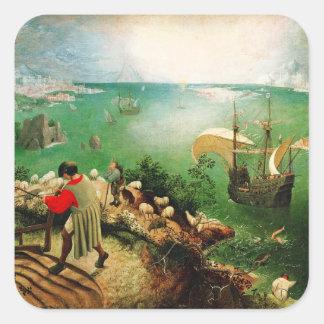 Paisaje de Pieter Bruegel con la caída de Ícaro Calcomanía Cuadradas Personalizadas