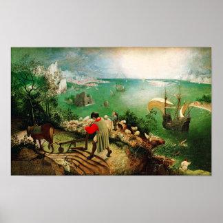 Paisaje de Pieter Bruegel con la caída de Ícaro Póster