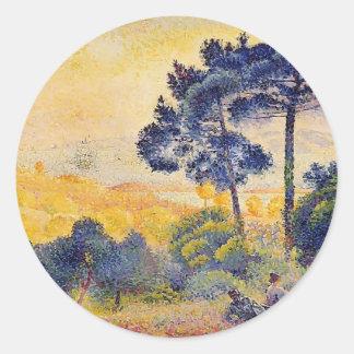 Paisaje de Provence de la Cruz de Enrique-Edmundo Pegatina Redonda
