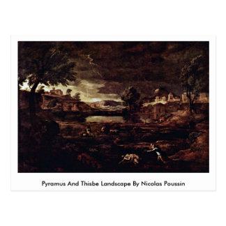 Paisaje de Pyramus y de Thisbe de Nicolás Poussin Postal