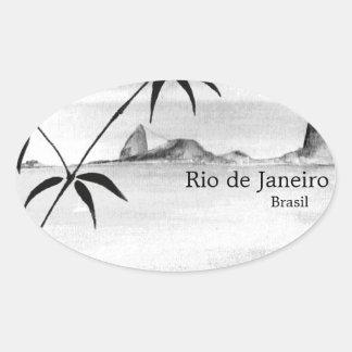 Paisaje de Río/del Brasil Colcomanias De Óval Personalizadas