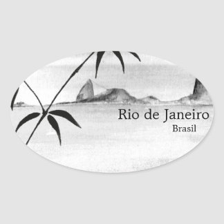 Paisaje de Río/del Brasil Pegatina Ovalada