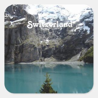 Paisaje de Suiza Calcomanías Cuadradas Personalizadas