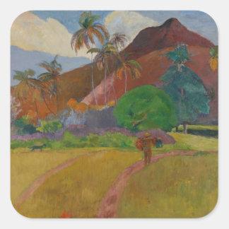 Paisaje de Tahitian, 1891 (aceite en lona) Calcomanías Cuadradass Personalizadas