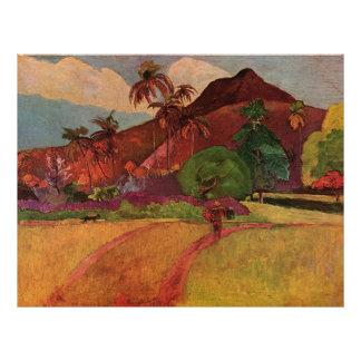 """Paisaje de Tahitian de Paul Gauguin (1893) Folleto 8.5"""" X 11"""""""