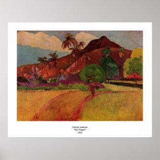 Paisaje de Tahitian de Paul Gauguin (1893) Póster