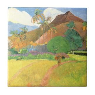Paisaje de Tahitian, montañas Tahití, Paul Gauguin Azulejo Cuadrado Pequeño