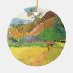 Paisaje de Tahitian, montañas Tahití, Paul Gauguin Ornatos