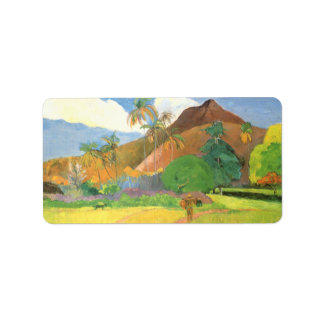 Paisaje de Tahitian, montañas Tahití, Paul Gauguin Etiquetas De Dirección