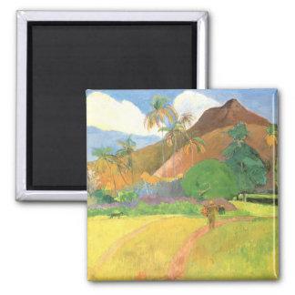 Paisaje de Tahitian montañas Tahití Paul Gauguin Iman Para Frigorífico