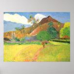 Paisaje de Tahitian, montañas Tahití, Paul Gauguin Poster