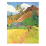 Paisaje de Tahitian, montañas Tahití, Paul Gauguin Tarjetas Postales