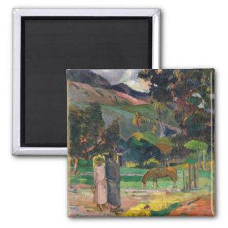 Paisaje de Tahitian - Paul Gauguin Imán De Nevera