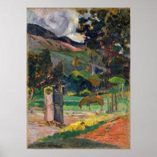 Paisaje de Tahitian - Paul Gauguin Póster