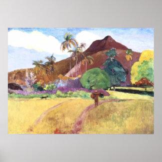 Paisaje de Tahitian Póster