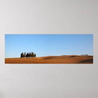 Paisaje de Toscana con el poster del panorama de