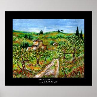 Paisaje de Toscana de las colinas verdes y de los Póster